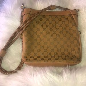 Vintage Gucci Canvas Braided Strap Crossbody Bag